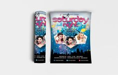 """Saturday Night Flyer Template Features: • Size: 1275×1875px (4×6"""") Bleeds 0.25"""" • Fully editable + Full layered • Photoshop Version: CS5 or Higher • Resolution: 300dpi • CMYK Colors Notes: • Model not included in download file. #abstract #advertisement #background #banner #beat #blue #brochure #card #celebration #ciusan #club #clubbing #concert #cover #dance #design #disco #discotheque #dj #electrohouse #entertainment #event #fashion #festival #flyer #girlsnight #illustration #invitation #l Festival Flyer, Background Banner, Print Templates, Saturday Night, Flyer Template, Girls Night, Photoshop, Invitations, Abstract"""
