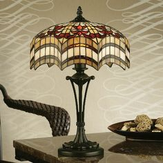 Lampada da Tavolo o Scrivania Tiffany Rossa e Gialla