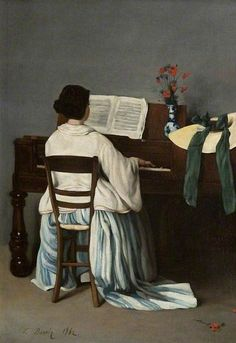 Books and Art - Woman at a Spinet (1862). François Bonvin (French, 1817-1887). Oil on canvas. The Burrell Collection.