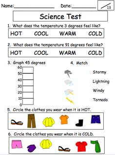 FREE Weather Science Test Printable. Great for a unit on weather ...
