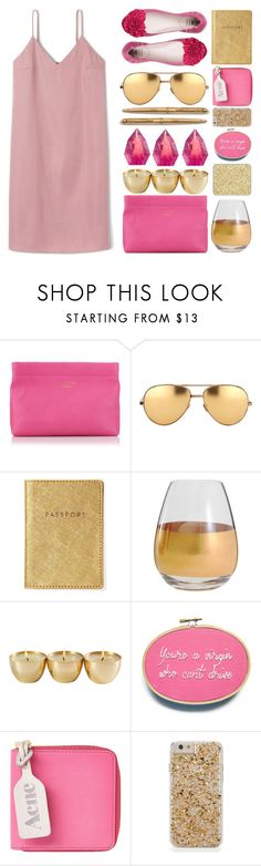 """""""off 440"""" by juuliap ❤ liked on Polyvore featuring Acne Studios, Linda Farrow, Parker, Marc Blackwell, shu uemura, gold, Pink and dreamydresses"""