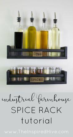 DIY industrial farmhouse spice rack tutorial. {www.wineglasswriter.com/}