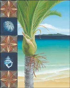 Nikau by Maryanne Thomsen for Sale - New Zealand Art Prints Online Art Store, Arts And Crafts Storage, Beach Flowers, New Zealand Art, Nz Art, Maori Art, Copper Art, Sand Crafts, Kiwiana