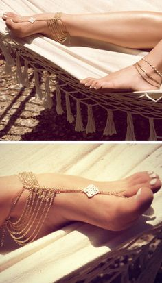 gold chain foot anklet/ barefoot sandal ♥ for beach weddings