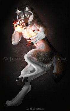 Fire Wolf - Jennette Brown Digital Fantasy - Wolves and Werewolves