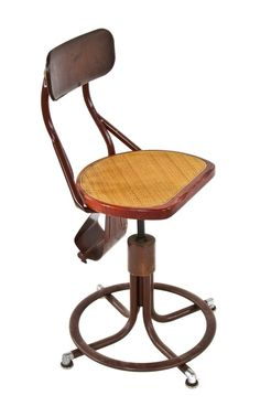 all original highly desirable c. 1930's american vintage industrial western electric switchboard operator adjustable height chair with intact purse holder