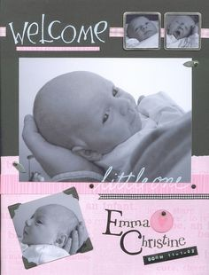 Newborn Scrapbook Page - OMG I LOVE the 2 little framed pictures at the top!  Nice page layout too!