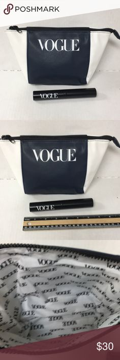 Vogue Cosmetic Bag Makeup Brushes Lot Navy blue and white Vogue cosmetic bag lines with exclusive vogue logo fabric. 4 eye makeup brushes come in black metal canister with Vogue logo. Vogue premium offer in September issue. You could only get these by making a purchase and sending in your receipt to Vogue. Vogue Makeup Brushes & Tools