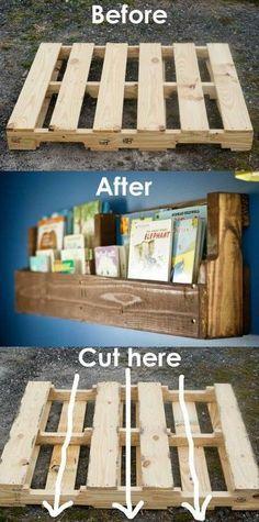 Faça você mesmo uma estante para livros com pallets reaproveitados.