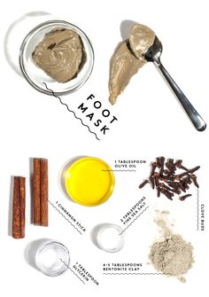 "Your Foot's New Best Friend // DIY Winter Skin Care // Foot masks are the beauty treatment we never knew we needed. This one in particular is warming. ""The warming sensation comes from the clove and cinnamon, which are also antibacterial and antiseptic."" Glycerin and olive oil are very moisturizing. Clay for extra cleansing and sea salt for gentle exfoliation."