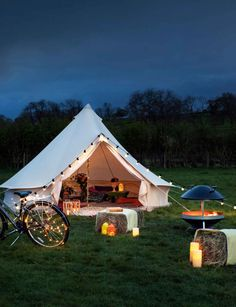 Garden Lighting Ideas Outdoor Candles, Led Candles, Outdoor Dining, Outdoor Lighting, Lighting Ideas, Bell Tent Glamping, Patio String Lights, Outside Living, Pool Houses