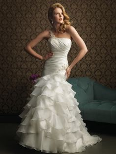 New Satin-Back Taffeta and Organza One-Shoulder Mermaid Sleeveless Wedding Dress...