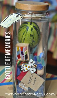 35 Easy DIY Gift Ideas That Everyone Will Love -- Bottle of memories!