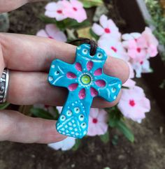 Colorful cross necklace, teal with pink flower, folk art cross, pastel colors…