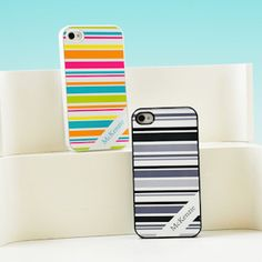Happy Stripes Personalized iPhone Case - 4 Colors from Wedding Favors Unlimited