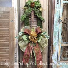 Long Faux Moss Wreath w/Copper Dupioni, Spring Floral Wreath, Summer Wreath, Outdoor Wreath, Everyday Wreath by RcollectionandCo on Etsy https://www.etsy.com/listing/273429076/long-faux-moss-wreath-wcopper-dupioni
