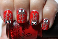 Rudolph the red nose reindeer nails! Def doing this for Xmas :)