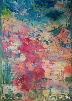 Abstract Kunst, Acryl auf Canvas, Leinwand Gemälde gross 100 x 140 cm, von Künstlerin Fiona Mares, https://www.facebook.com/FionaMaresGallery/