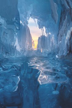 The ice cave Beautiful World, Beautiful Places, Beautiful Pictures, Ice Castles, Winter Scenery, Snow And Ice, Fantasy Landscape, Landscape Photos, Winter Wonder