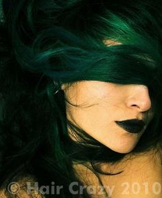 dark green hair .