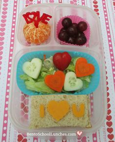 I Love You, Valentine's Day Bento School Lunch | bentoschoollunches.com