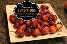 Rumaki: Bacon Wrapped Water Chestnuts Appetizer ** this is quite good, I also have made it cut up pieces of chicken breast. :) I have never made it with liver. Although I have tasted it and it's great too. Bacon Appetizers, Finger Food Appetizers, Appetizer Recipes, Finger Foods, Bacon Recipes, Mexican Food Recipes, Cooking Recipes, Pie Recipes, Vietnamese Recipes