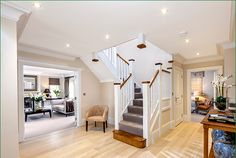 The Chiltern Staircase - softwood white primed staircase with two quarter landings leading to the first floor with a return balustrade. Timber Handrail, Stair Spindles, Banisters, Newel Posts, Glass Panels, Stairs, Home And Garden, Flooring, Natural