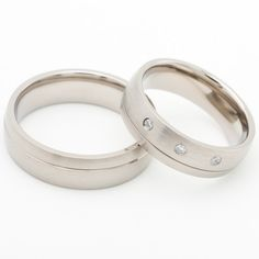 Two Matching 6mm Titanium Wedding Bands Promise Rings for Him & Her - Free Engraving. $73.00, via Etsy.