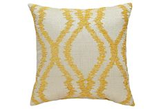A refreshing splash of style. With its soothing sun-and-sand hues and faded ikat pattern, Estelle accent pillow captures the essence of coastal cool living.