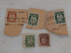 Lot of 5 Vintage Norge Norway Posthorn Stamps, 5, 15, 20, and 50 Ore.    These date to the 1950s and/or earlier.  A timeless, classic design.  A colorful collection.