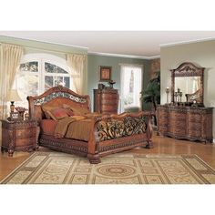 Jasper Luxury King Cherry Sleigh Bed 5piece Bedroom Furniture Set