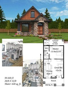 "Mark Stewart Home Design Plan # (M-640-A ""Montana"") 640sq.ft.:"