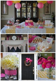 Baby Shower Dessert Table and favors idea- pink and yellow chevron PLUS vanilla bean cupcake recipe
