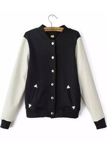Black Stand Collar Long Sleeve Buttons Jacket