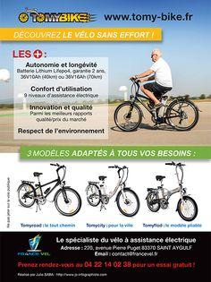 #Flyer réalisé par la #graphiste Julie Saba pour #FranceVel, le spécialiste du #vélo à assistance électrique et sa marque #Tomybike.
