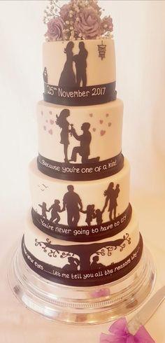 Silhouette wedding cake by Thesugarfloristyork - http://cakesdecor.com/cakes/306970-silhouette-wedding-cake #weddingcakes