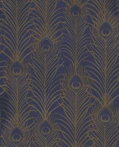 Peacock (W6541-03) - Osborne & Little Wallpapers - Matthew Williamson's signature motif, the peacock feather is given an  exotic touch with this amazing beaded design. Shown here in beaded metallic antique gold shade overlaid on a dark violet motif. Please request a sample for true colour match.