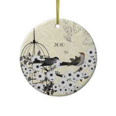 Vintage Birds & Bird Cage on Damask Christmas Ornaments by samack #whytaboo #Christmas #style #purple #black #silver #white #theme #love #xmas