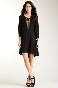 3/4 Sleeve Scoop Neck Hi-Lo Dress