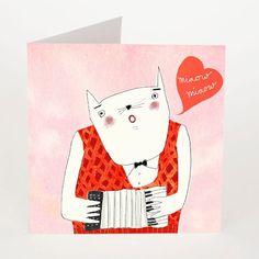 musicien de musique chat carte postale  par RedCheeksFactory