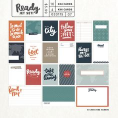 Ready... Jet Set - set of 16 3x4 + 4 4x6 cards — Christine Herrin