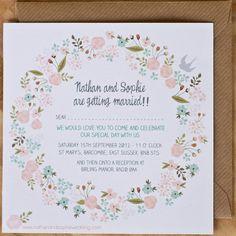 Spring Garland Wedding Invitation £2 each NOTHS