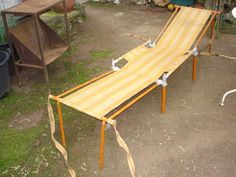Strange campaign bed or travel leger detachable Campaign Furniture, Picnic Table, Outdoor Furniture, Outdoor Decor, Old And New, Sun Lounger, Ebay, Home Decor, Stream Bed