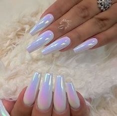 winter acrylic nails that are beautiful . – 40 cute acrylic nails designs to inspire your winter holiday 89 30 Eye-catching Red Nail Art Designs to Show Your Style; Acrylic Nails Chrome, Clear Acrylic Nails, Almond Acrylic Nails, Metallic Nails, Acrylic Nail Designs, Nail Art Designs, White Chrome Nails, White Nails, Winter Acrylic Nails