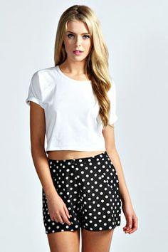Lacy Polka Dot Flippy Shorts at boohoo.com