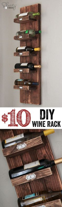 You want a wine holder but you do not want to spend a lot of money on it? Well, if you want to get something cheap, you have to do it by yourself. And this DIY will teach you how to make a wine rack just for $10! #makewinediy #WoodworkingPlansWineRack