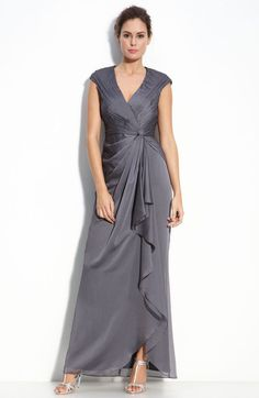 Adrianna Papell Faux Wrap Chiffon Gown in Gray (smoke) | Lyst