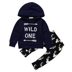 Top Hoody Pants Trousers Set Casual Arrow Clothing Toddler Baby Boys Clothes Set Long Hooded New Baby Boy #Affiliate