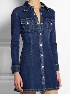 Compre Vestido chemise jeans com manga longa. Disponível nos tamanhos P, M, G e GG. DMS Boutique