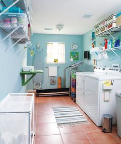 Small Space Laundry Room Organization Tips | unfinished basement laundry room,basement laundry room makeover,basement laundry room ideas,basement laundry room ship lap,basement laundry room before and after